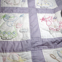 Hand Made Baby Quilt, purple gingham. Sunbonnet Sue Hand embroidered, hand quilted  Adorable