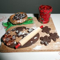 Gingerbread Cookie Prep Board in One Inch Dollhouse Scale