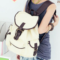 YESSTYLE: Smoothie- Buckled Drawstring Canvas Backpack (Off-White - One Size) - Free International Shipping on orders over $150