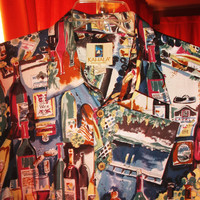 Amazing Vintage Hawaiian Shirt KAHALA Collection  PARTY DRINKS  Size L Made in Malaysia 100% Lawn Cotton