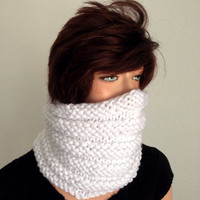 Knitted Chunky Neck Warmer/ Cowl in White