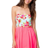 Roses Are Pink Flare Dress