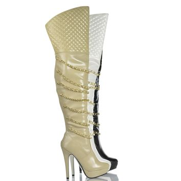 Gilly83 Over The Knee Chain Quilted Shaft Platform Stiletto Heel Bootie