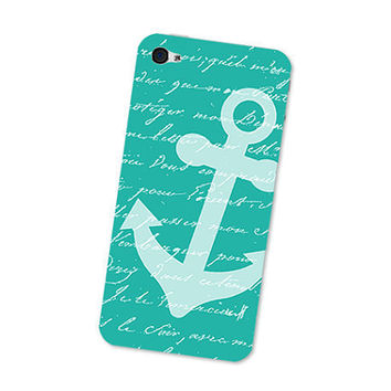 Turquoise Nautical Anchor iPhone 4S Skin: iPhone 4 Skin Decal - Blue and White Cell Phone Sticker iPhone Skin