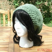 Hand Crocheted Hat - The Classic Slouch in Green - Crochet hat handmade