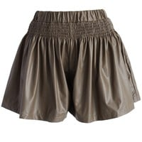 Faux Leather Pleated Skort in Coffee Brown S/M