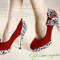 Red Suede Leapord and Bow High Heel Shoes