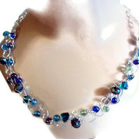 Glass Bead Necklace Blue  Crochet Chain