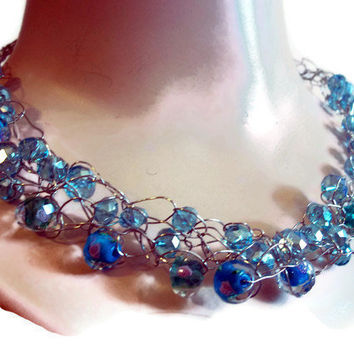 Glass Bead Necklace Blue Roses on Some Beads Crochet Chain