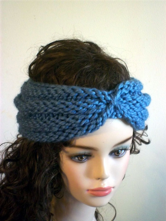 Knit Turban Headband Blue