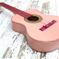 Vintage Pink Child's Wooden Acoustic Guitar - Pale Pink & Magenta