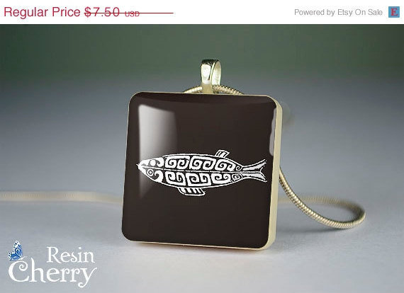 ON SALE: vintage Fish scrabble tile pendant,art jewelry pendant,handmade necklace pendants- A0163SI