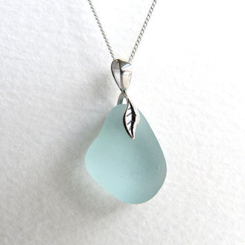 Sea Glass Necklace Seafoam on Sterling Silver