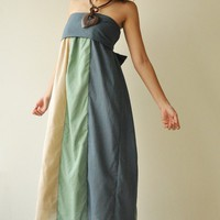 The Line Part II ...Green Blue Maxi Cotton dress