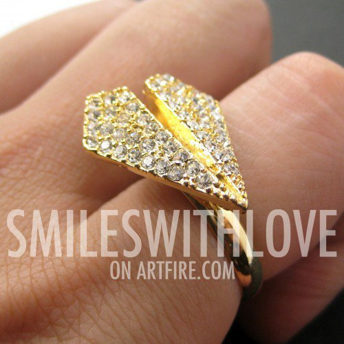 SALE - Origami Airplane Adjustable Ring in Gold with Rhinestone Detail
