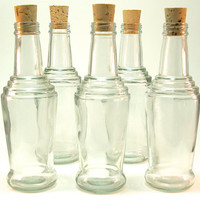 5 Glass Bottles with Corks