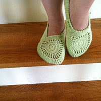 Pistachio Slippers Adult Slippers, Crochet Pattern PDF 12-035
