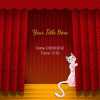 Cat Opening Theater Curtains Invitation - Card Design - Printable File