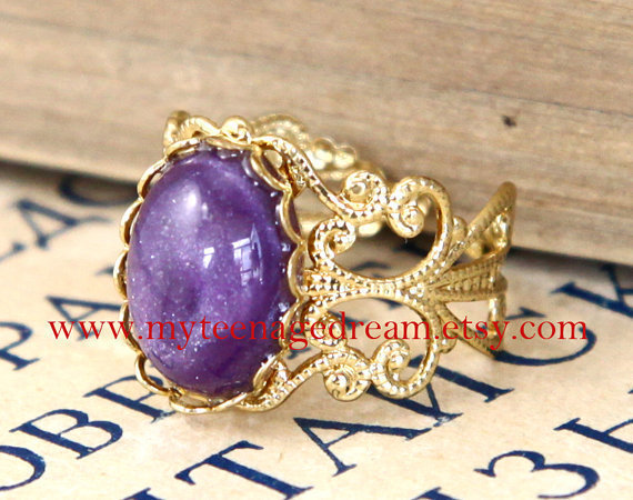 vintage style purple gem adjustable golden ring