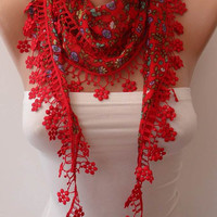 Red Flowered Scarf with Red Trim Edge - Summer Scarf - Lightweight--NEW