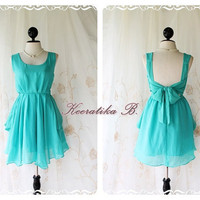 A Party - Cocktail Prom Party Dinner Wedding Night Dress Asymmetric Hem Mint Blue Full Lined Deep Back Bow Tie Natural Sexy Charming Looks