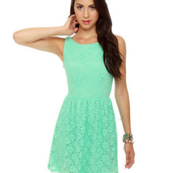Cute Mint Green Dress - Lace Dress - Mint Dress - $41.00