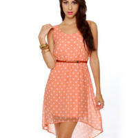 Darling Peach Dress - Polka Dot Dress - $43.00