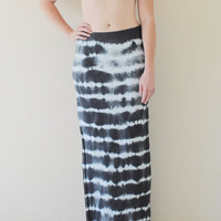 Tie Dyed Boho Chic Maxi Skirt w/ Side Slit in Stretch Knit Cotton - Bohemian Extra Long Maxi - Sizes XS, S, M, L, XL - Stripe Tie Dye