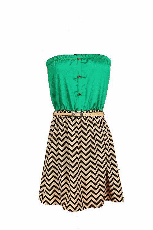 Zig-Zag Belted Tube Dress | RUCHED BOUTIQUE