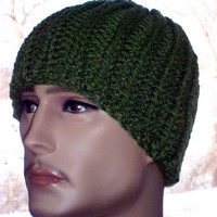 Hand Knit Chunky Beanie - Green