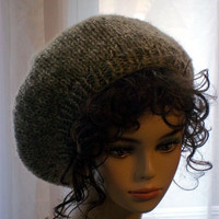 Hand Knit Beret - Slouch Hat in Camel