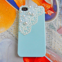Fashion blue iPhone hard Case cover made of pearl for iPhone 4 case ,iPhone 4 S case,iPhone 4 GS case