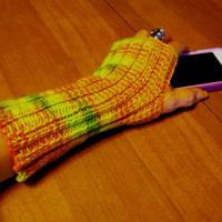 Fingerless Gloves Hand Knit  Orange Green  Yellow