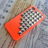 Silver pyramid stud orange iPhone hard Case Cover for iPhone 4,4S ,iPhone 4 Case, iPhone 4s Case, iPhone 4 GS Hard Case