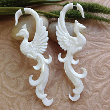 "Fake Gauge Earrings, ""Long-Feathered Peacock"" Naturally Organic, Bone, Hand Carved, Tribal"