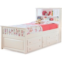 Captain's Bed Twin Bed 4 Drawer Storage Chest White Finish