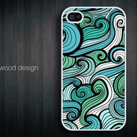 custom iphone 4 case iphone 4s case iphone 4 cover abstract colorized  curve graphic design printing