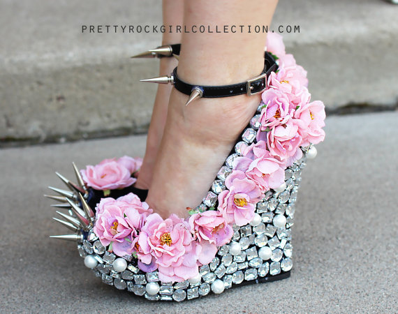 Floral Rhinestone Studded Spike Wedge Shoes SIZE 7, 8 &amp; 9.
