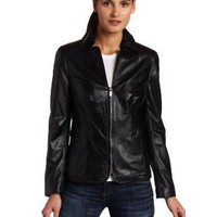 Jones New York Women`s Leather Zip Front Jacket
