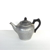 Vintage Aluminum Teapot: Club Aluminum with Black Wood Handles