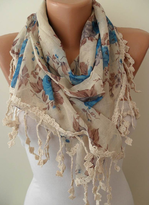 Blue and Beige Scarf with Trim Edge--NEW