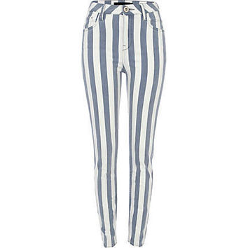 blue stripe lana high waisted jeans