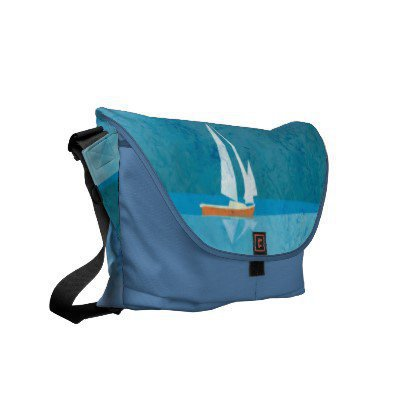 Yacht in the sea and blue sky commuter bags from Zazzle.com