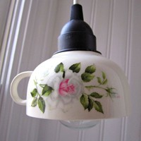 Rosebud Teacup Light by mostazaseed on Etsy