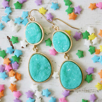 Soft Mint Druzy Earrings, Women's Bohemian Jewelry