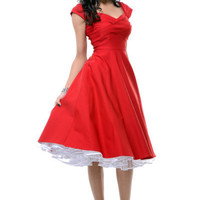 STOP STARING! MAD MEN Red Pleated Bodice Cap Sleeve Swing Dress - Unique Vintage - Homecoming Dresses, Pinup & Prom Dresses.
