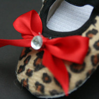 Leopard Baby Booties / Crib Shoes - red bows - baby shower gift