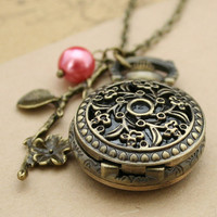 Antique pocket watch flower necklace bronze pendant with flower charm and glass pearl charm