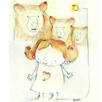 Goldilocks. Childrens art print. limited edition art print. Art for babys and  children