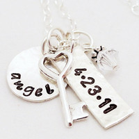 Hand Stamped Necklace for Mom